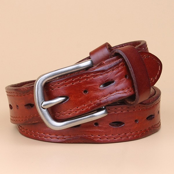 Women Cowhide Vintage Leather Belts Alloy Pin Buckle Belts Jeans Strap Soft Waistband for Jeans