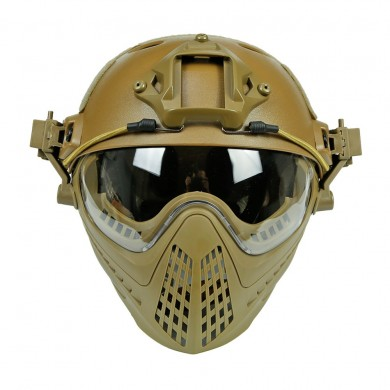 WoSporT Tactical Helmet with Protective Mask Motorcycle Hunting Riding Outdoor CS Army