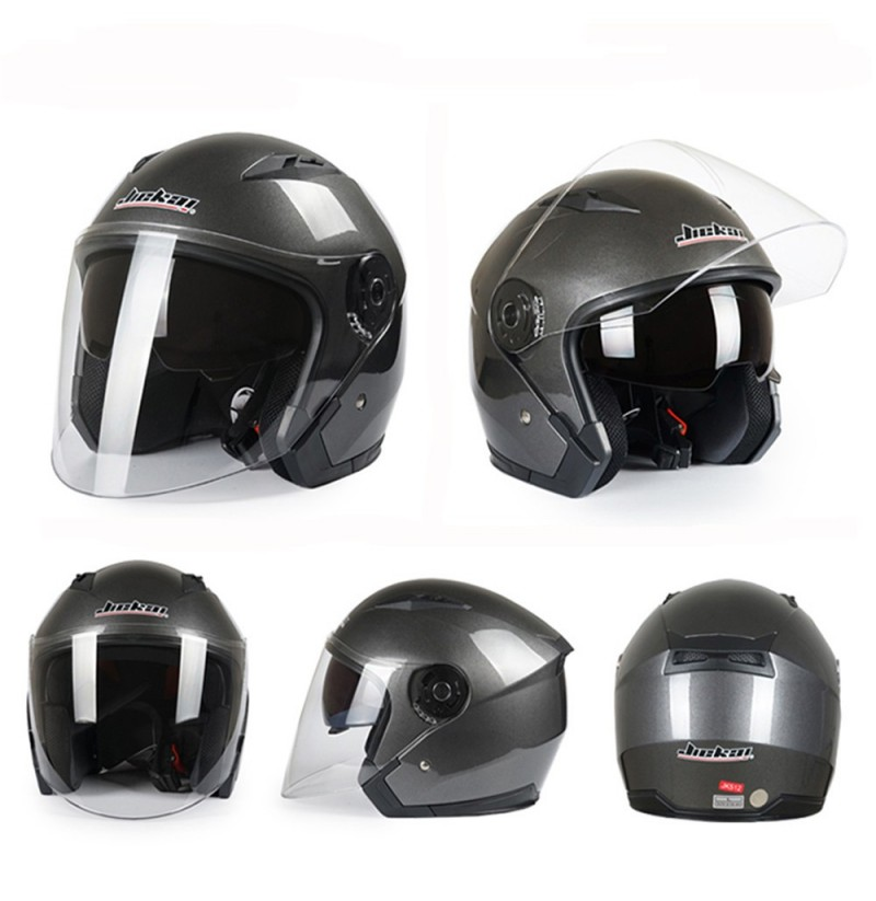 Motorcycle Scooter Half Open Face Helmet Dual Lens Anti-fog Ridng Protective (Color: Grey, Size: XL) фото