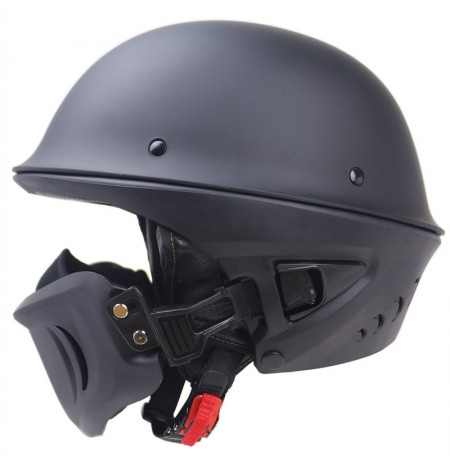 Zombies Racing DOT Rogue Halb Helm Motorrad Retro Lokomotive abnehmbare Maske Matte Black