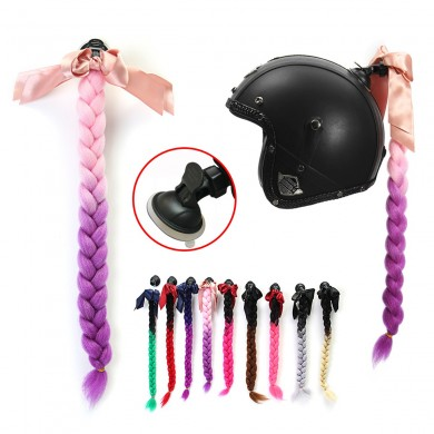 Motorcycle Gradient Ramp Helmet Braids Punk Style Twist Braid Hair Pigtail Ponytail