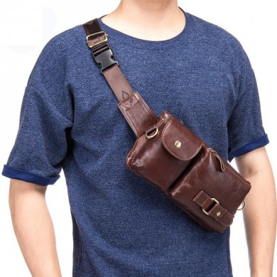 Genuine Leather Men Waist Bag Shoulder Multifunction Chest Pack Travel Phone Pouch Fanny