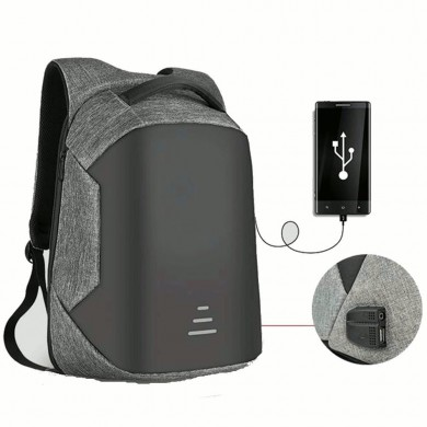Men Anti Theft Backpack Waterproof Travel Bag With USB Charging Port