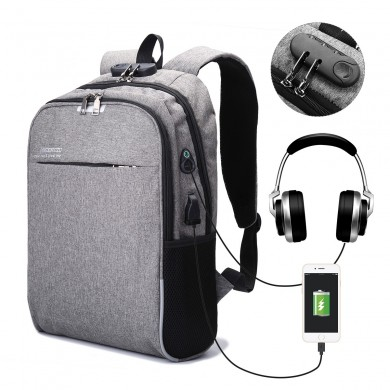 Men's 3M Reflective Anti-theft Lock Laptop Backpack Shoulder Bag with USB Port