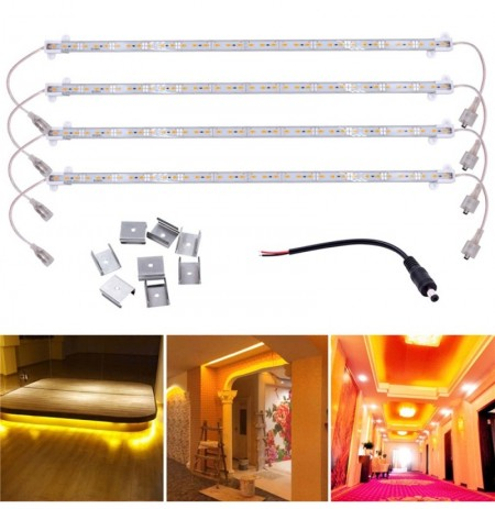 4PCS 50CM Impermeable 36 SMD 5630 Golden LED Rigid Strip Hard Bar tubo de luz Lámpara para el hogar DC12V