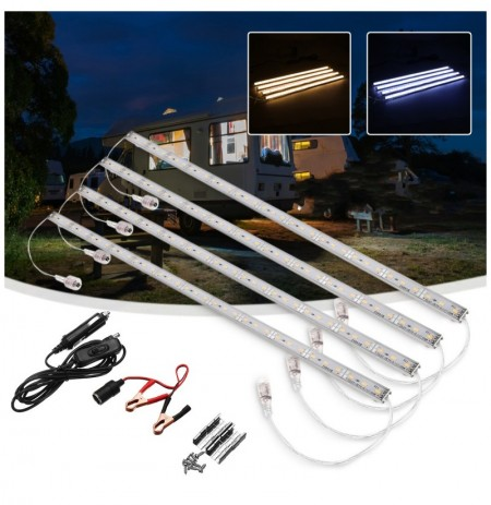 4PCS 50CM DC12V SMD5630 Waterproof LED Hard Rigid Strip Light Bar for Camping Boat Car Caravan