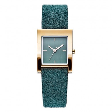 SK K0080 Rectangle Casual Style Leather Strap Women Watch