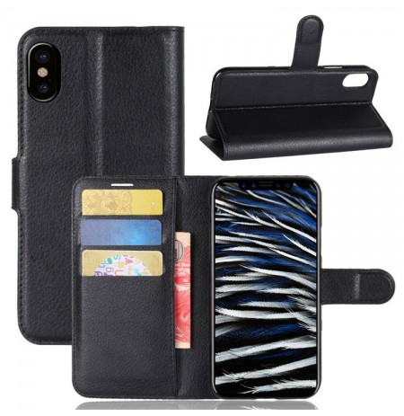 Litchi Texture Card Slot Bracket Flip Leather Чехол Для iPhone X