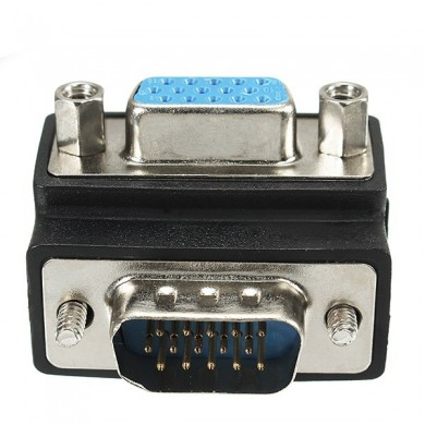 90 Degree Right Angle 15 Pin VGA SVGA Male to Female Converter Adapter