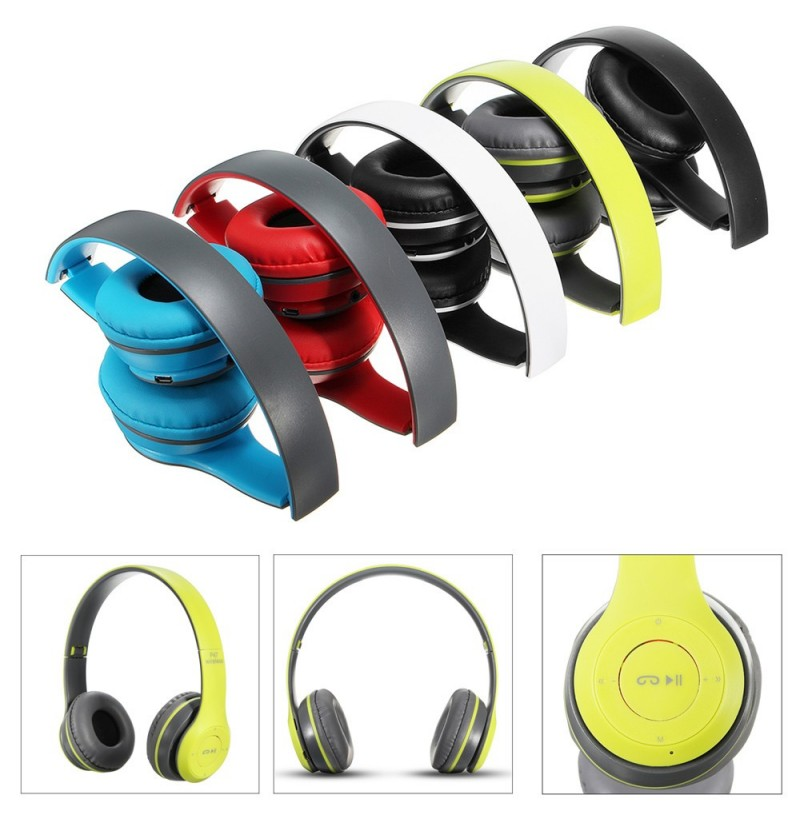 Wireless Bluetooth Sports Headphones with Microphone Portable Stereo FM Headset (Color: Green) фото