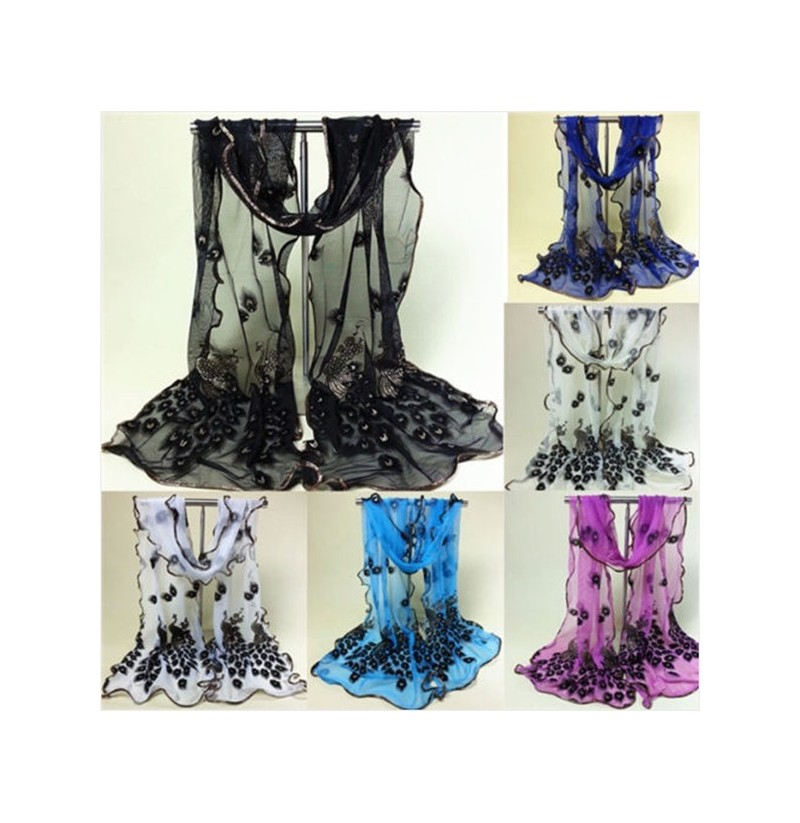 Women Lady Girls Peacock Print Long Soft Scarf Wrap Shawl Stole Scarves (Color: Purple) фото