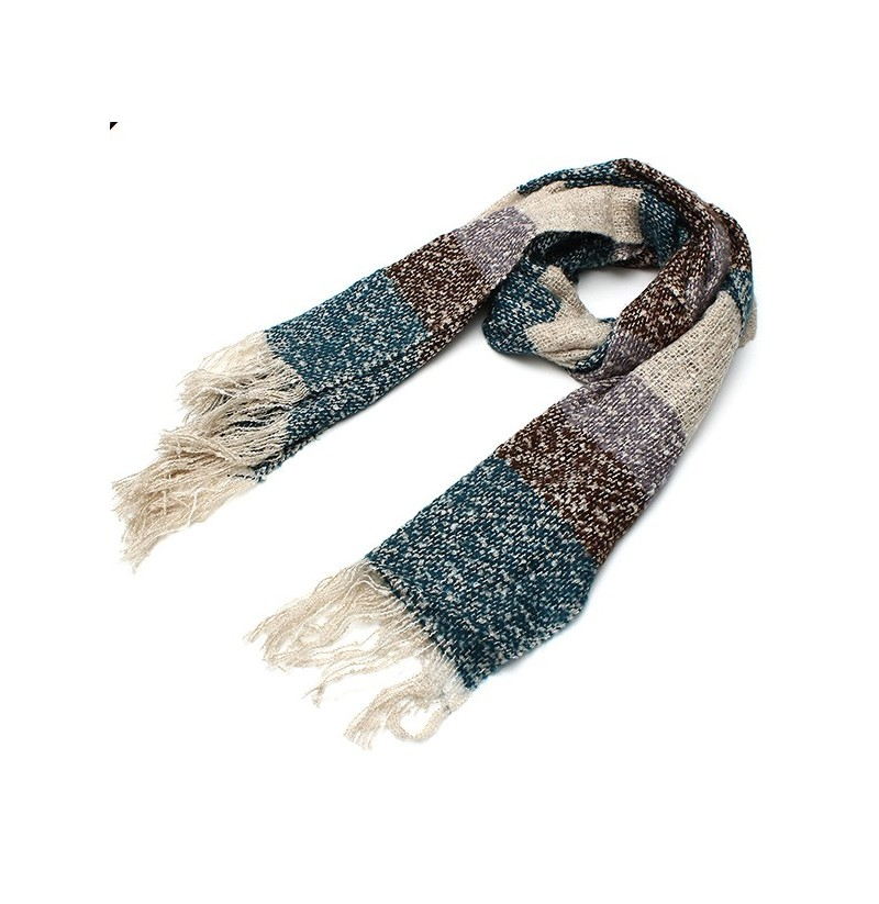 Women Ladies Wool Colorful Scarf Thicken Knitting Warm Shawl Long Scarves (Color: Beige) фото