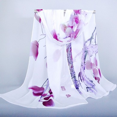 Women Silk Traditional Chinese Painting Scarves Outdoor Shaw