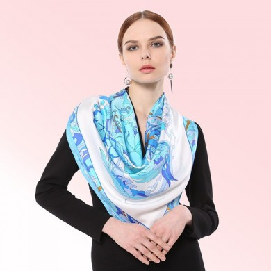 Women Soft Pure Silk Flower Printing Scarf Casual Elegant Colorful Square Towel