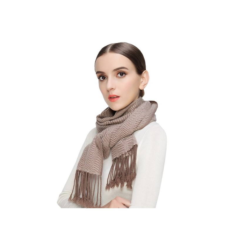 LYZA Women Cashmere Solid Scarf Striped Winter Warm Soft Scraves Shawl (Color: Coffee) фото