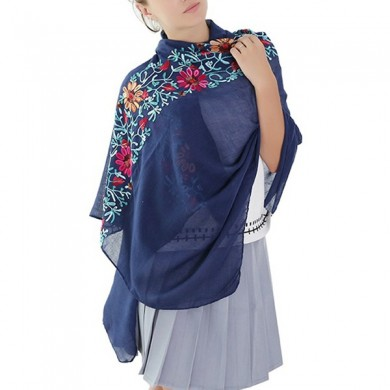 Women Floral Ethnic Embroidery Printing Scarf