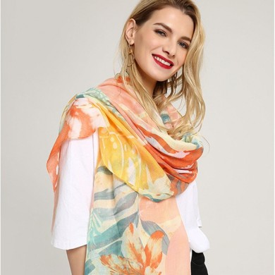 Women Linen Lightweight Scarf Summer Flower Shawl