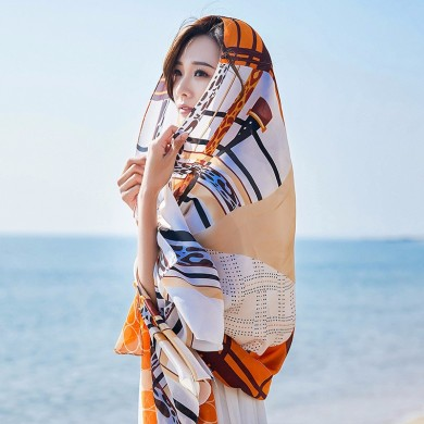 Women Summer Satin Sunscreen Beach Shawl Scarves