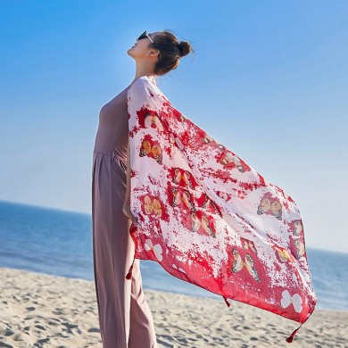 Women Summer Print Beach Sunscreen Scarf