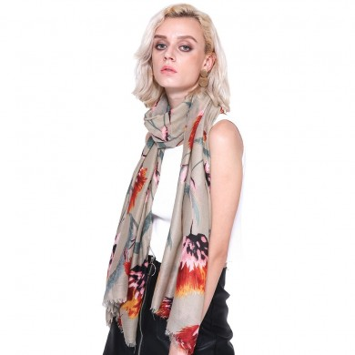 Women Gardenia Pattern Scarf Cotton Linen Sunscreen Shawl