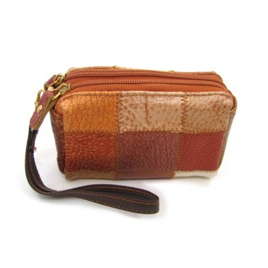 Genuine Leather Mini Vintage Contrast Color Clutch Casual Phone Wallet Two Size
