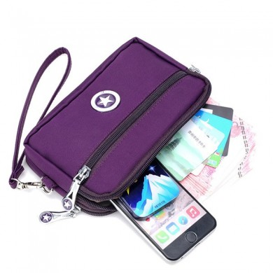 2 Interlayers Zíper Clutches Bolsas Mulheres Nylon Waterproof Coin Bags 5.5 '' Bolsa Telefone Para Iphone 7P