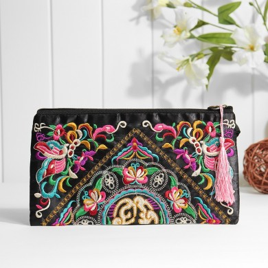 Ethnic Embroidery Flowers Bag Clutch Bag Purse For Women