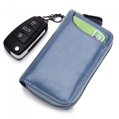 Mujer Hombres Piel Genuina Key Package Card Holder Clutch Bolsa