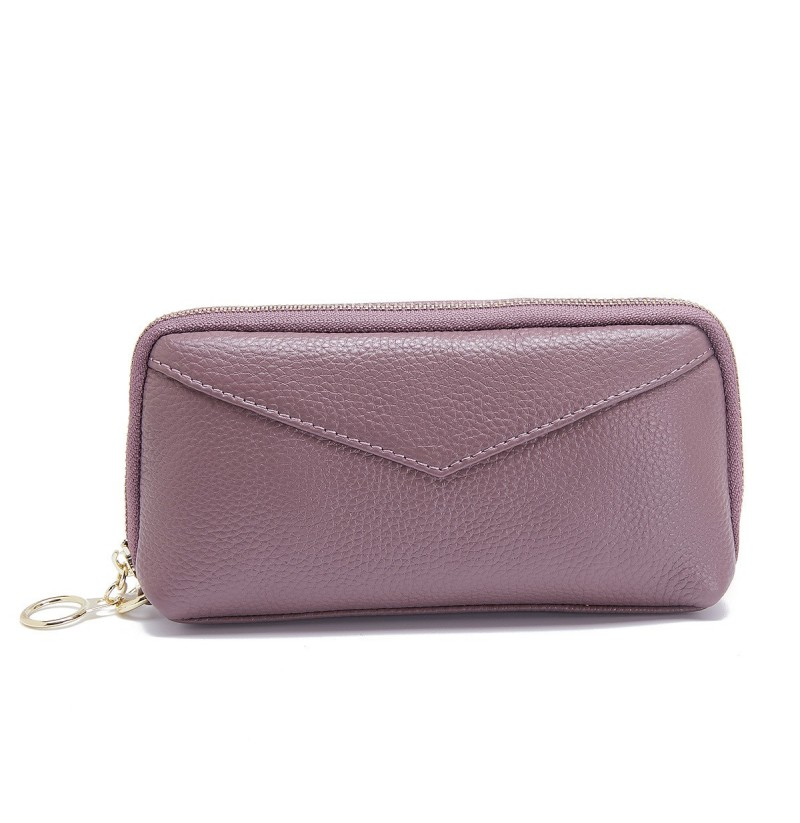 Women Genuine Leather Pure Color Clutch Bag Wallet (Color: Purple) фото