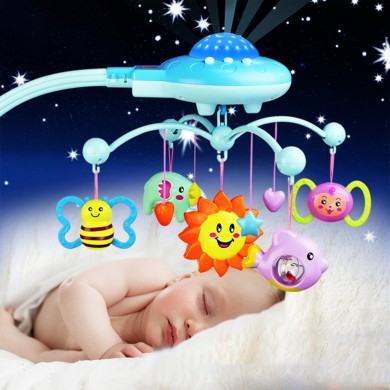 Crib Mobile Musical Campana Campana con Animal Rattles Proyección Dibujos animados Early Learning Toys 0-12 meses