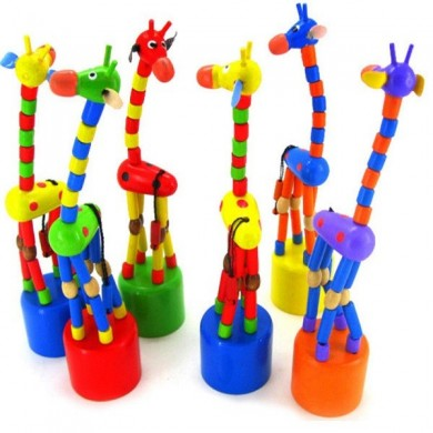 Juguetes de jirafa de madera Kid Standing Colorful Intellectual Gifts Developmental