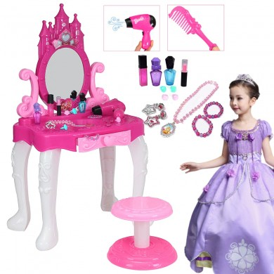 Kids Vanity Table Pretend Gioca Toy Set Cosmetic Trucco Capelli Toddler Girl Toys Gift