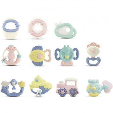 10pcs Baby Rattles Teether Grab Toys Shaking Bell Rattle Toy Set regalo per neonato Neonato