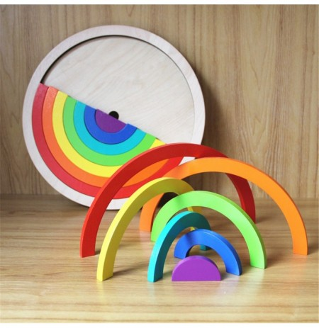Blocchi di legno arcobaleno impilabile Model Building Construction Kids Toy Intellectual