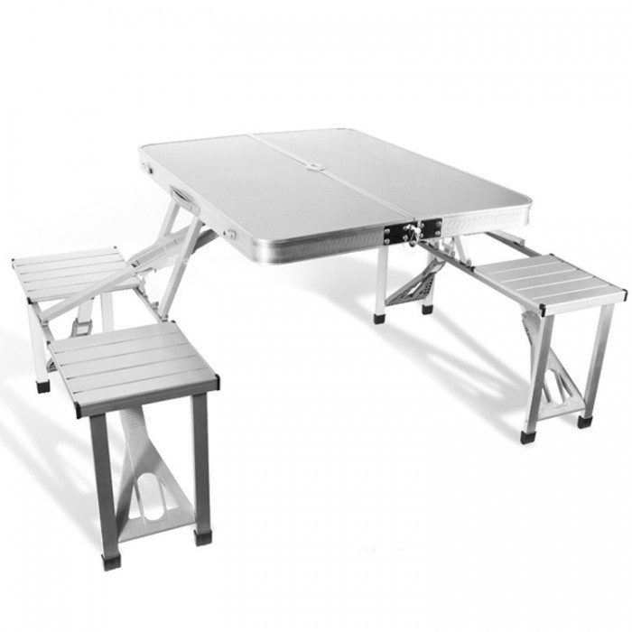 Outdoor Aluminum Folding Table Set  Foldable Desk 4 Chairs For Camping Hiking Picnic BBQ
