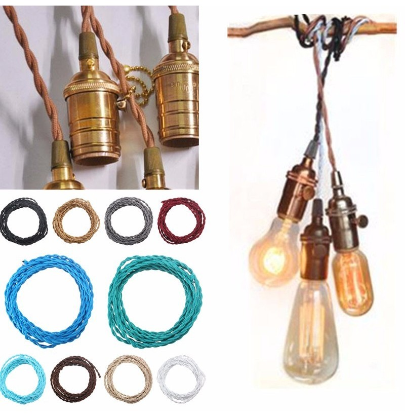 5M Vintage 2 Core Twist Braided Fabric Cable Wire Electric Lighting Cord (Color: Silver) фото