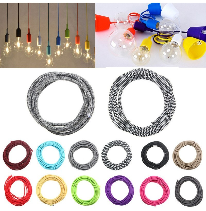 3M 2 Cord Color Vintage Twist Braided Fabric Light Cable Electric Wire (Color: Bright red) фото