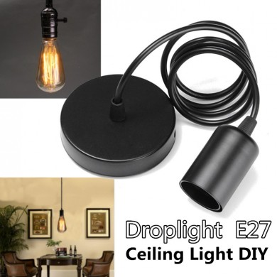 E27 Single Head Home Ceiling Pendant Lamp Light Bulb Holder Socket Hanging Fixture 1.2m