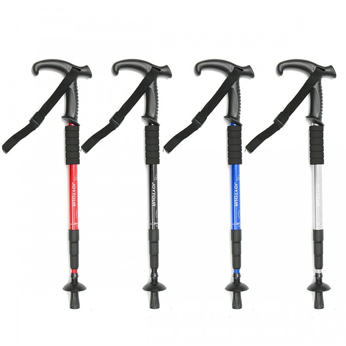4-Section Hiking Walking Stick Trekking Pole Adjustable Cane Alpenstock