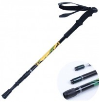 Outdoors Ultralight Aluminum Stick Straight Handle 3 Section Anti-Debris Alpenstock