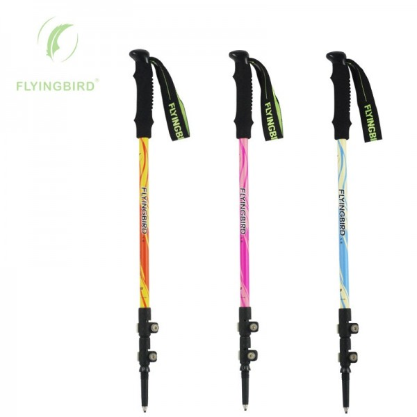 FLYINGBIRD F89 Carbon Fiber Alpenstocks Ultraleichtes Teleskop-verstellbares Schloss Klettern Wandern Sticks