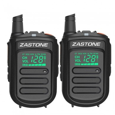 2Pcs Zastone mini9 Walkie Talkie UHF 400-470MHz Two Way Radio FM Transceiver Communicator Radio