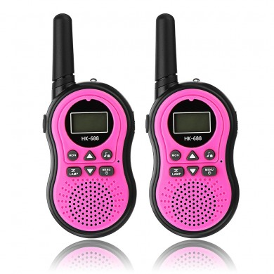 2pcs HK-688 0.5W UHF Auto Multi-Channels Mini Radios Walkie Talkie Built-in Flashlight Pink