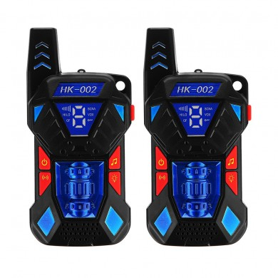 2pcs HK-002 0.5W UHF Auto Multi-Channels Mini Radios Walkie Talkie Built-in Flashlight