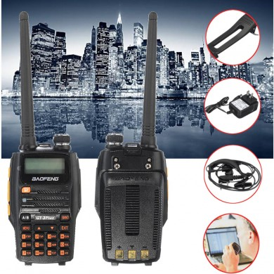 Baofeng GT-3PLUS 136-174/400-520MHz Tri-Power 1/4/8W Two-Way Radio Walkie Talkie IP67 + Charger