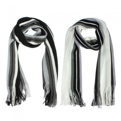 Winter Men's Stripe Fringed Knitted Imitation Cashmere Wool Long Scarf