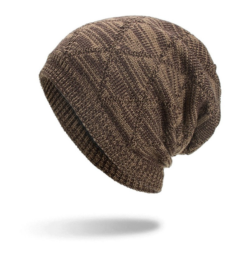 Winter Plaid Plus Velvet Earmuffs Knitted Sweater Hat (Color: Grey) фото