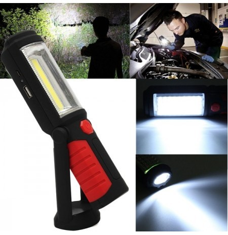 COB LED Magnetic Stand Handing Swivel Hook Light Inspection Rechargeable Torch