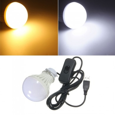 5W USB LED Light Bulb with Switch for Outdoor Camping Hiking Emergency 5V