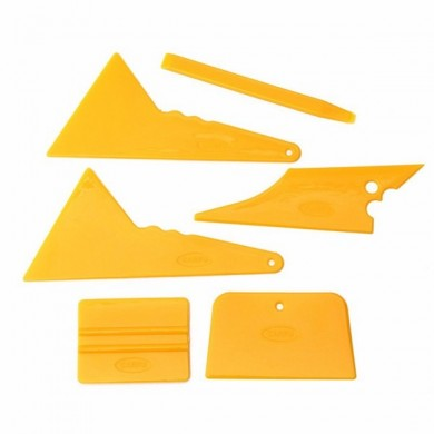 6Pcs Car Window Tinting Tool Kit Glass Vinyl Sticker Installation Tint Scraper Set Yellow